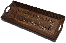Shilpi Handicraft Wooden Premium Quality Serving Tray with Hand Carved