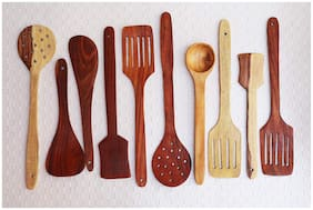 Shilpi Handmade Wooden Non-Stick Serving and Cooking Spoon Kitchen Tools Utensil, Set of 10