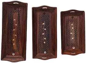 Shilpi Sheesham Wooden Handicraft Serving Tray for Tea, Coffee, Snacks - Set of 3