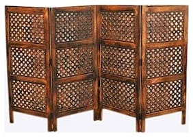 Shilpi Wooden Classic Look Partition/Wooden Room Divider Separator 4 Panel