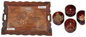 Shilpi Wooden Handmade Designer Tray With Handing Holder + Serving Bowl Set Of 4 PCs