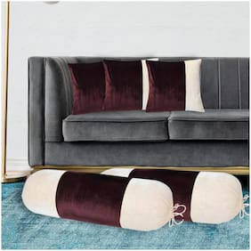 Shining Wings Velvet Set of 2 Piece Bolster Cover 15 X 30 Inch & 3 Piece Cushion Cover 16 X 16 Inch - Brown & Cream Color