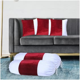 Shining Wings Velvet Set of 2 Piece Bolster Cover 15 X 30 Inch & 3 Piece Cushion Cover 16 X 16 Inch - Red & White Color