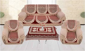 Shiv Kirpa velvet 5 Seater Best Quality Sofa Cover With 4 Seater Table Cover
