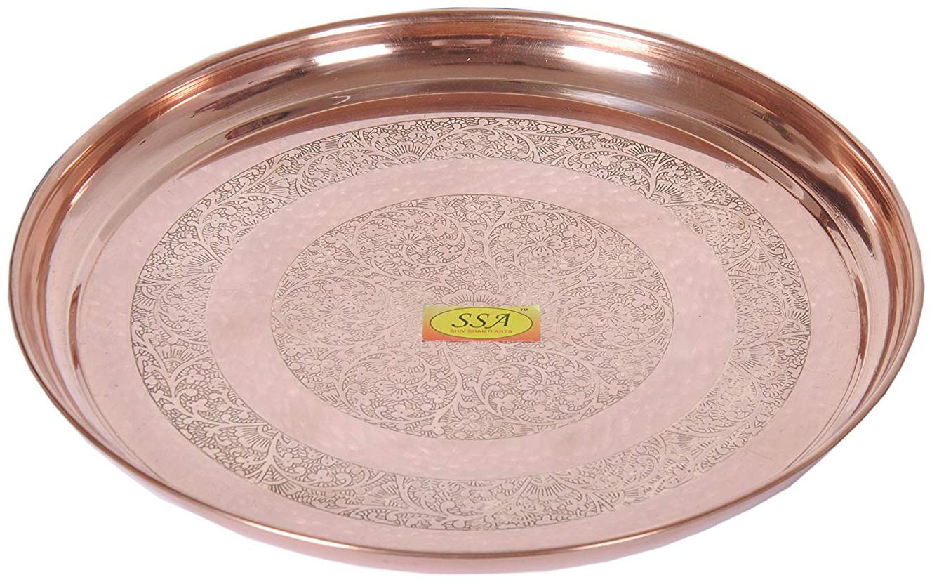 Shiv Shakti Arts Handmade Pure Copper Plate Embossed Deisgned Round Shaped Kitchenware...
