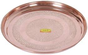 Shiv Shakti Arts Handmade Pure Copper Plate Embossed Deisgned Round Shaped Kitchenware Serveware Diameter-29 cm ::set Of 1