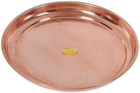 Shiv Shakti Arts Handmade Pure Copper Plate Large Sized Hammered Deisgned Thali Dish Kitchenware Serveware Diameter-32 cm ::Set of 1