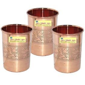 SHIV SHAKTI ARTS Handmade Pure Copper Embossed Glass Set of 3