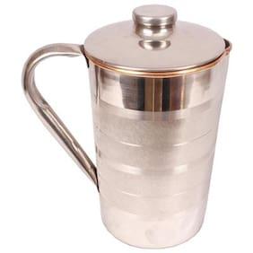 SHIV SHAKTI ARTS Steel copper jug no 6 with silver touch design