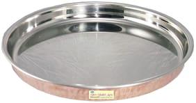 "Shiv Shakti Arts Handmade Steel Copper Thali Plate For Dinnerware Diameter=12""inch"