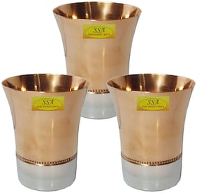Shiv Shakti Arts Handmade Pure Set Of 3 Steel Copper Glass For Wine and Beer Purpose For and Homeware