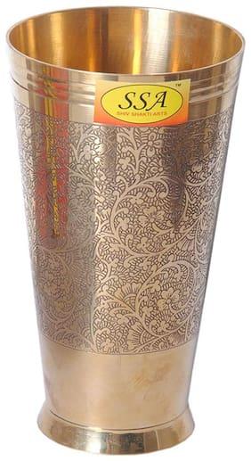 Shiv Shakti Arts  Handmade Pure Brass Glass Cup Tumbler Embossed Design Lassi Glass Homeware Hotelware Dinnerware Serveware Volume:700 ml::Set of 1