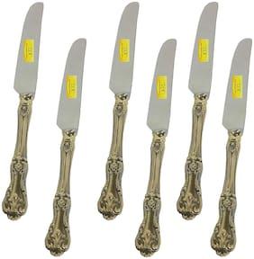 Shiv Shakti Arts Handmade Pure Brass Set of 6 Deisgner Butter Knife Length=8.5 inch