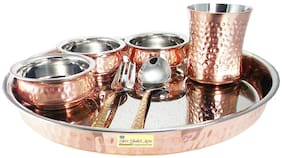 Shiv Shakti Arts Stainless Steel & Copper Traditional Kitchen Dinner Set of 7 pieces 1 Plate Thali 3 Handi Bowls 1 Glass 1 Fork 1 Spoon