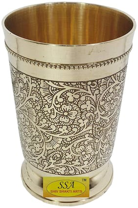 Shiv Shakti Arts Handmade Pure Brass Embossed Design Glass Tumbler (300 ml)