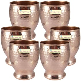 Shiv Shakti Arts Handmade Pure Set Of 6 Copper Hammer Glass Tumbler with small base |Capacity=500ml