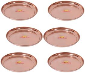 Shiv Shakti Arts Handmade Pure Copper Plate Large Sized Hammered Deisgned Thali Dish Kitchenware Serveware Diameter-31.5 cm ::Set of 6