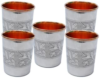 SHIV SHAKTI ARTS Set of 5 steel copper flower design glass