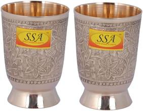 Shiv Shakti Arts Handmade Pure Brass Glass Embossed Flower Design Tumbler Capacity-300 ml Each ::Set of 2