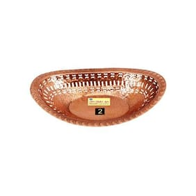 SHIV SHAKTI ARTS Copper oval Bread basket no 2