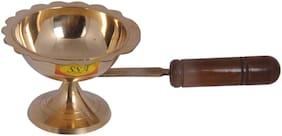 Shiv Shakti Arts Handmade Pure Brass Antique Deisgner Fantastic Dhoop Danni With Wooden Handle - 27 CM For Diwali, Navratri Pooja::Set Of 1