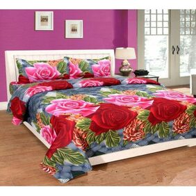 Shivam Concepts 3D  Designed Glace Cotton Double Bed Multicolor Bedsheet + 2 Pillow Covers