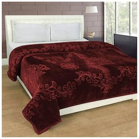Shivam Concepts Polyester Double Bed Coffee Brown Colored Mink Blanket