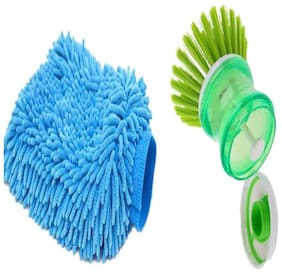 SHOP BRUSH WITH MICR0FIBER HAND GLOVES FOR KITCHEN CLEANING