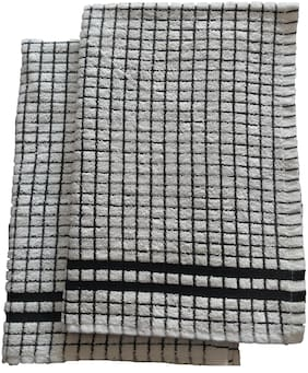 SHOP BY ROOM 300 GSM Cotton Hand towel ( 2 pieces , White & Black )
