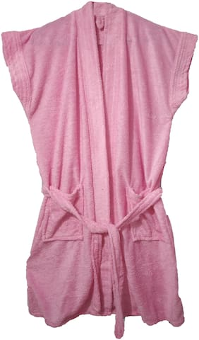 SHOP BY ROOM Half Sleeves Terry Women Bath Robe - Free Size(Pink)