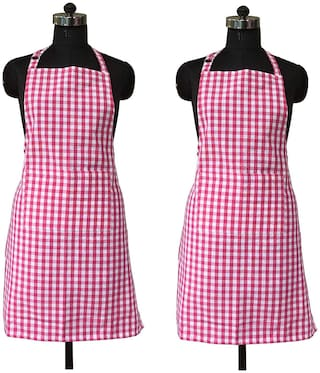 SHOP BY ROOM Red Checks Apron with Pocket - Pack of 2