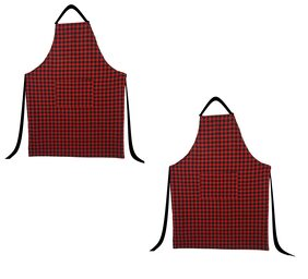 SHOP BY ROOM Cotton Checkered Fabric , Red ( Set Of 2 )