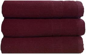 SHOP BY ROOM 300 GSM Cotton Bath towel ( 3 pieces , Maroon )