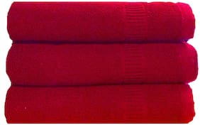 SHOP BY ROOM 300 GSM Cotton Bath towel ( 3 pieces , Red )
