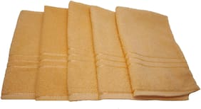 Shop By Room Quick Dry Face/Hand Towel- Set Of 5- Orange