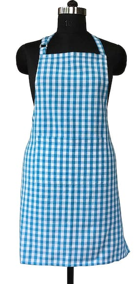 SHOP BY ROOM Cotton Checkered Fabric , Blue ( Set Of 1 )