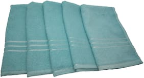 Shop By Room Quick Dry Face/Hand Towel- Set Of 5- Turquoise