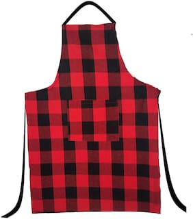 SHOP BY ROOM Red And Black Checks Apron with Pocket  - Pack of 1