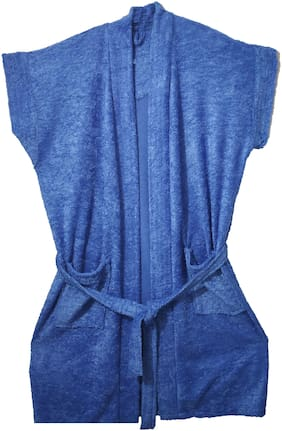 SHOP BY ROOM Half Sleeves Terry Women Bath Robe - Free Size(Blue)