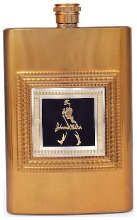 ShopAIS Johnnie Walker Premium Series Stainless Steel 9 Oz/265 ml Hip Flask Golden