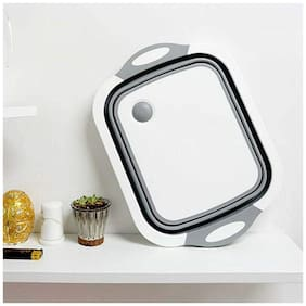 Shopeleven 3 in 1 Multifunctional Silicon Based Kitchen Foldable Cutting Chopping Board Vegetable Draining Basket with Plug Folding Washbasin Tray to Serve Collapsible (pack of 1)