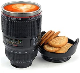 Shopeleven Camera Lens Mug With;Stainless Steel Travel Thermos Camera Lens Coffee Tea Cup Mug Coffee Cup