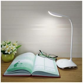Shopeleven LED Touch On/Off Switch Desk Lamp/Student Study Reading Dimmer Rechargeable Led Table Lamps(White)