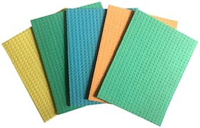 Shopeleven Reusable;Cellulose;washable;Absorbent Cellulose Sponge Cloths. No Odor and Washable Kitchen Wipes - Random Colors. (Pack of 5)