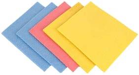 Shopeleven Reusable and Biodegradable Kitchen Cleaning Scrub Pad Sponge Wipe (Standard Size;Pack of 5) washable wipes