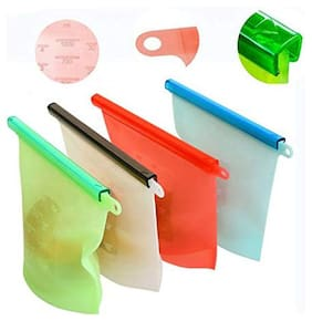 Shopeleven Silicone Food Storage Bag Container For Fridge Ziplock Bags For Fridge Vegetables Zip Pouches Storage Large Size Lock Pouch Medium Plastic Food Bag Vegetable Locks Freezer;(4Pc)