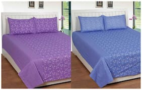 Shopgalore Cotton Multicolour 2 Double Bedsheet With 4 Pillow Covers