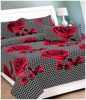 Shopgalore Cotton Floral Double Size Bedsheet ( 1 Bedsheet With 2 Pillow Covers , Multi )