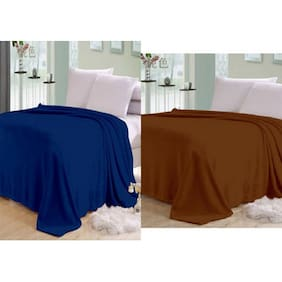 Shopgalore Combo Of Double Bed Plain AC Blanket - Set Of 2