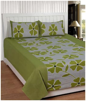 Shopgalore Cotton Floral Double Size Bedsheet ( 1 Bedsheet With 2 Pillow Covers , Green )